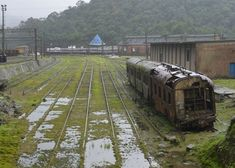 Abandoned train carriage amp disused track in Paranapiacaba Brasil