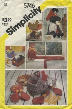 Vintage Sewing Pattern for Set of Household Accessories | Simplicity 5746 | Year 1982 | Chicken Potholder | Kitchen Witch | House and Barn Tissue Box Cover | Cat Door Stop and Draft Stop | Picnic Basket and Set of 6 Napkins