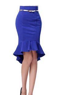 Women Solid ROYAL BULE bodycon pencil office wear High Waist Frilled Hem knee length Mermaid Skirt