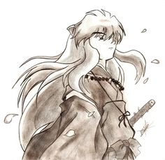 """Well this is inuyasha, from the cover of the inuyasha's soundtrack """"Wind"""". It's a beautiful cd with the openings and endings of inuyasha in orchestra ve. Inuyasha Cosplay, Inuyasha Funny, Inuyasha Fan Art, Inuyasha Love, Inuyasha And Sesshomaru, Inuyasha Memes, Anime Character Drawing, Manga Drawing, Manga Anime"""