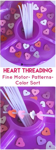 Your kids will have so much fun working on fine motor skills, patterns, and color sorting with this heart threading fine motor and patterning activity tray! #valentinesday #finemotor #preschool #kindergarten