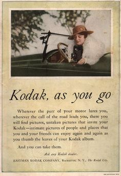 Kodak, as you go. From Duke Digital Collections. Collection: Emergence of Advertising in America. image of woman in automobile