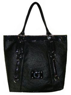 Women's Large Guess Rogue Tote Handbag (Black)