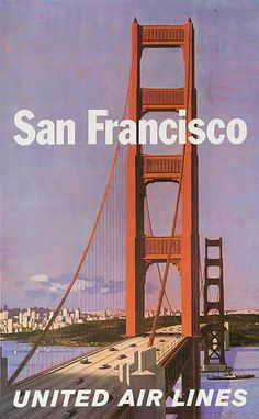 United Airlines Vintage Travel Poster San Francisco  1970s by Stan Galli