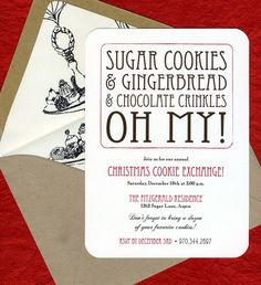 COOKIE EXCHANGE PARTY INVITATIONS Sugar cookies, gingerbread, and chocolate crinkles...OH MY! DETAILS - A7 Invitations on Soft White Card Stock - Rounded Corners - A7 Envelope (shown in Paper Bag) - A7 Vintage Cookbook Page Envelope Liner - Return Address Printing - Printed using
