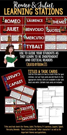 Learning Stations for Romeo and Juliet. Help your students work and think independently.