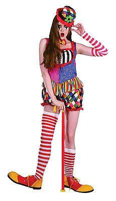 Ladies Clown Fancy Dress Costume Multi-colour Halloween Outift   Hat UK  10-14  495362f7bc8f