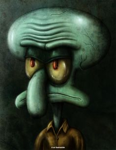 Squidward Tentacles by Fluorescentteddy on DeviantArt Crying Emoji, Cat Crying, Classic Cartoon Characters, Classic Cartoons, Squidward Art, Painted Trash Cans, Squidward Tentacles, Octopus Tentacles, City Tattoo