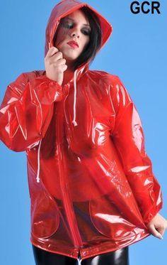 Raincoats For Women Seasons Clear Raincoat, Red Raincoat, Raincoat Jacket, Plastic Raincoat, Hooded Raincoat, Rain Jacket, Imper Pvc, Plastic Girl, Plastic Mac