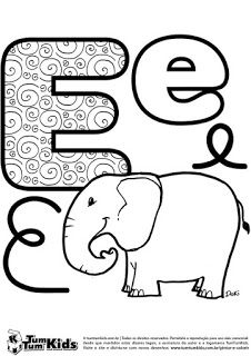E for elephant Letter Worksheets, Baby Clip Art, Color Activities, Alphabet And Numbers, Baby Design, Coloring Pages, Preschool, Calligraphy, Letters