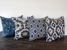 Throw pillow covers 16 x 16 Set Of Four blue gray beige ikat batik cushion cover pillow sham Sofa Couch, Couch Pillows, Cushions, Throw Pillows, Couches, Sofas, Pillow Room, Pillow Set, Pillow Shams