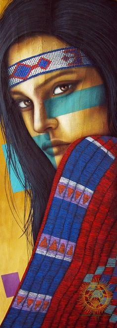 photos of art by victor crisostomo gomez American Indian Girl, Native American Girls, Native American Images, Native American Wisdom, Native American Tattoos, Native American Paintings, Native American Artists, Indian Paintings, Art Paintings