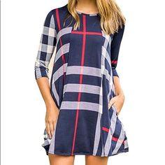 Nwot Trendy Navy Plaid 3/4 Sleeve Mini Dress