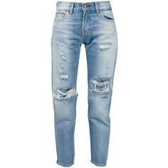 Levi's Vintage Clothing distressed jeans ($400) ❤ liked on Polyvore featuring jeans, pants, trousers, blue, distressed jeans, levi's, levi jeans, blue jeans and destructed jeans