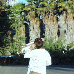 girl / palms / green / sky