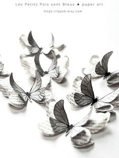 These grey paper butterflies are perfect to be used as grey wedding decorations, girl room decorations or for 3d butterfly wall art... | Paper art by @LPPSB