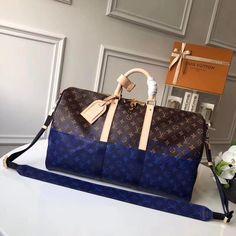 4650fa6e185c Louis Vuitton Monogram Canvas Split Coated Canvas Keepall Bandouliere 50  Bag 2018