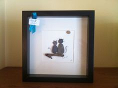 Irish Pebble Art / Stone Art Framed Picture - Love Cats -unique personalised wedding or anniversary gift