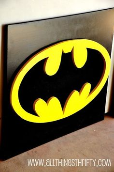 Yesterday I told you about designing some great kid's decor focal points for Benson's room. Today, I will share the Batman design. We used the exact same technique as the Superman Wall Art described HERE. Devon, Batman Wall Art, Batman Sign, Batman Bedroom, Superhero Room, Batman Superhero, Superhero Party, Man Room, Kids Decor