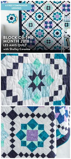 2018 Block of the Month: Les Amis Quilt Kit + class by Craftsy.  Grab a   friend and some of your favorite block units such as flying   geese, hour-glass quarters and 60 degree triangles to stitch together   the stunning Les Amis Block of the Month Quilt! Our exotic,   floral-inspired collection, Collage by Boundless Fabrics, is perfect for   an easy strip-pieced Irish chain that sets off your blocks.    #blockofthemonth #blockofthemonthquilt This is an affiliate link.
