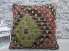 Geometric Turkish Pillow 16 x 16 Anatolian Needle Embroidery Vintage kilim pillow Home Decorative Kilim Pillow Sofa Pillow Vintage Pillow