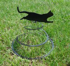 Metal Cat Art | Cat Spring Garden Metal Art
