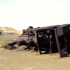 Derelict Turkish engine on Hejaz Railway, Saudi Arabia.