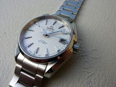 FS : OMEGA AquaTerra Teck white + deployant buckle + leather strap