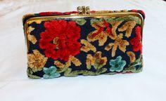 Vintage Flocked Velvet Tapestry Wallet