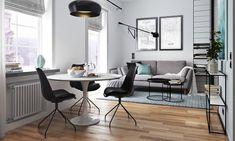 В интерьере маленькой квартиры должны преобладать максимально функциональные предметы интерьера. С этой задачей отлично справляются диваны-кровати, раздвижные обеденные столы и складные стулья.