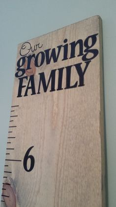 """Handpainted Childrens Wooden Growth Chart """"Our growing Family"""" Grey Stain on Etsy, $50.00"""