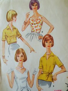 Vintage McCall's 5833 Sewing Pattern, 1960s Blouse Pattern, Sleeveless Blouse, V Neck, Bust 32, 1960s Sewing Pattern, Vintage Sewing Supply