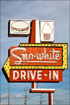 Sno-white Drive-in - Modesto, CA - Sno-White Drive-In. Obsessed with old signs. Want to drive the U. and photograph them all. Old Neon Signs, Vintage Neon Signs, Old Signs, Drive In, Roadside Signs, Retro Signage, Typography, Lettering, Retro Wallpaper
