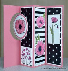 - Pop-Out Window Card - JanB UK Stampin' Up! Flip Cards, Fancy Fold Cards, Folded Cards, Baby Cards, Stampin Up, Poppy Cards, Window Cards, Stamping Up Cards, Card Tutorials