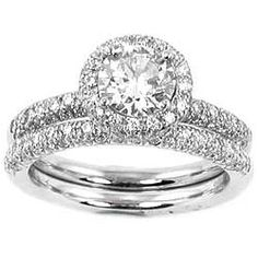 Halo Style Diamond Engagement Ring Set  Love this!
