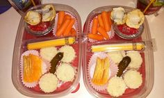 Bento Lunch box idea 9-21-15 Ham & cheese sandwich circles Staxx Pickle String cheese Carrots Fruit punch applesauce Mini smore bites