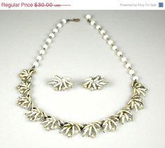 Vintage Coro White Enamel Rhinestone Necklace by TheFashionDen #vintage #jewelry #necklace #earrings #set #vogueteam