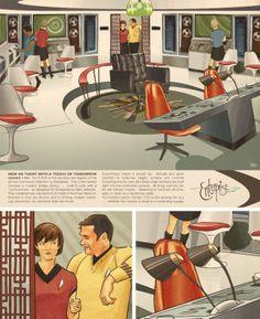 Oh if only the Starship Enterprise had Eames molded plastic chairs, fiberglass pendants, graphic starburst rugs, and Eero Saarinen's tulip chairs.Via Star Trek Reimagined Star Wars, Star Trek Tos, Science Fiction, Star Trek Images, Star Trek Original Series, Star Trek Starships, Starship Enterprise, Star Trek Universe, Star Trek Ships