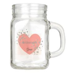 CoralHeart and Confetti Dots Mason Jar - wedding decor marriage design diy cyo party idea 12 Oz Mason Jars, Mason Jars With Handles, Custom Mason Jars, Mason Jar Drinks, Personalized Mason Jars, Mason Jar Gifts, Personalized Gifts, Merry Christmas, Christmas Mason Jars