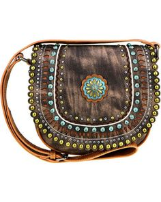 730f9d3af4eaa Montana West Women s Brown Concho Crossbody Bag