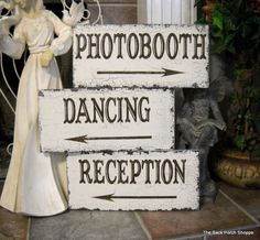 PHOTOBOOTH / DANCING / RECEPTION Set of 3 by thebackporchshoppe
