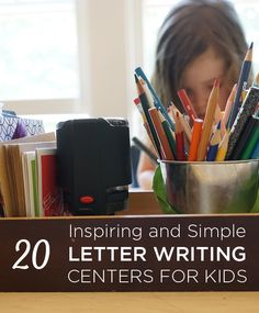 These letter writing centers will inspire you to build one of your own. Clear a table, set up some cards and writing tools, and you're in business! Pre Writing, Writing Lessons, Writing Centers, Writing Workshop, Teaching Writing, Letter Writing, Writing Skills, Teaching Kids, Teaching Tools