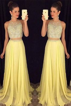Two Piece Prom Dresses#TwoPiecePromDresses Chiffon Prom Dresses#ChiffonPromDresses Sexy Evening Dress#SexyEveningDress Beading Prom Dress#BeadingPromDress