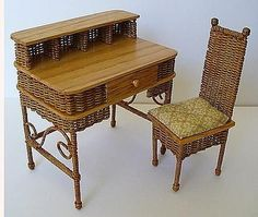 How to Make Miniature Wicker Furniture... I would love to sit at this cute desk!