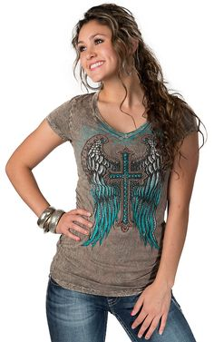Katydid Collection Women's Light Brown with Turquoise Winged Cross Short Sleeve Tee