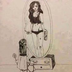 mirror and sad image