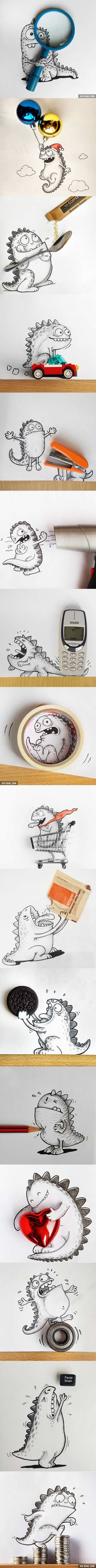 This Cartoon Dragon Loves Playing With Everyday Objects (By Manik & Ratan)