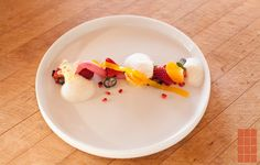 nitro crushed berries | aerated raspberry gel | mango gelee | cream foam | fresh fruit and mint by Nicholas Gavin on http://www.chefsteps.com/forum