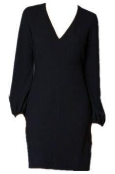 Black V Neck Long Sleeve Above Knee Dress