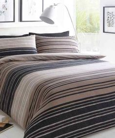 Duvet Cover Set Double With Pillowcases Quilt Bedding Set Reversible Printed Poly Cotton, Textured Stripe Brown - Best UK Mattress Store Online Brown Duvet Covers, Black Duvet Cover, Bed Covers, Plaid Bedding, Linen Bedding, Brown Bedding, Gold Bedding, Turquoise Bedding, Bedding Decor